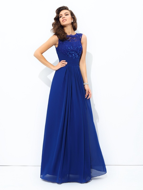 A-Line Chiffon Scoop Sleeveless Floor-Length With Lace Dresses