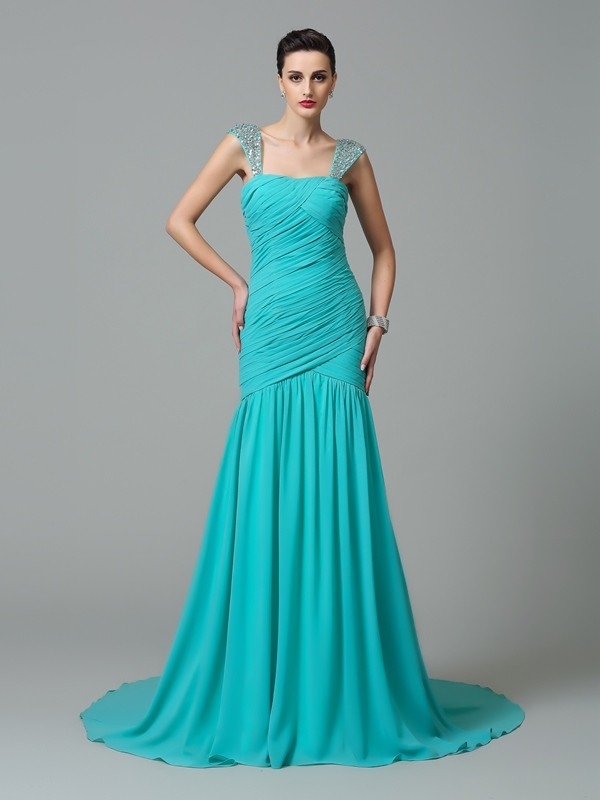 A-Line Chiffon Straps Sleeveless Court Train With Ruched Dresses