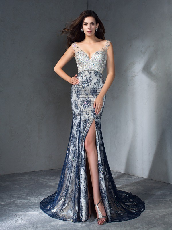 Mermaid Lace V-neck Sleeveless Sweep/Brush Train With Beading Dresses