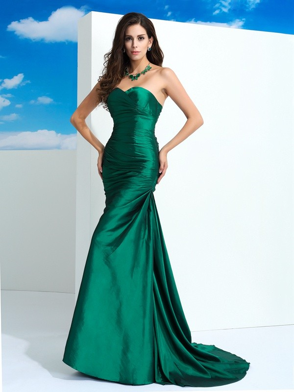 Sheath Taffeta Sweetheart Sleeveless Sweep/Brush Train With Pleats Dresses