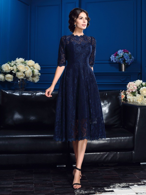 A Line Lace Jewel 1 2 Sleeves Knee Length With Mother Of