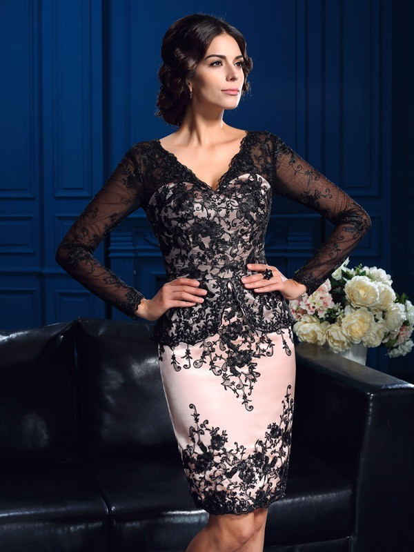 Sheath Lace V-neck Long Sleeves Short/Mini With Applique Mother of the Bride Dresses