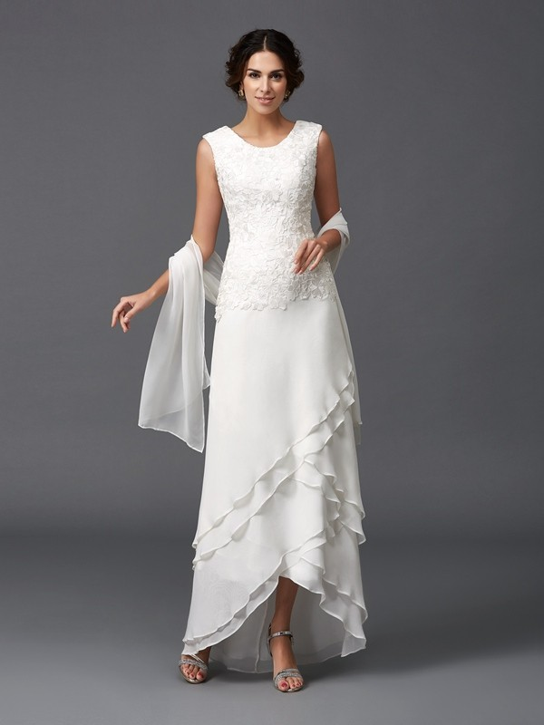A-Line Chiffon Scoop Sleeveless Ankle-Length With Lace Mother of the Bride Dresses