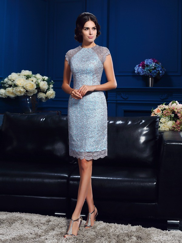 Sheath Satin Scoop Short Sleeves Short/Mini With Lace Mother of the Bride Dresses