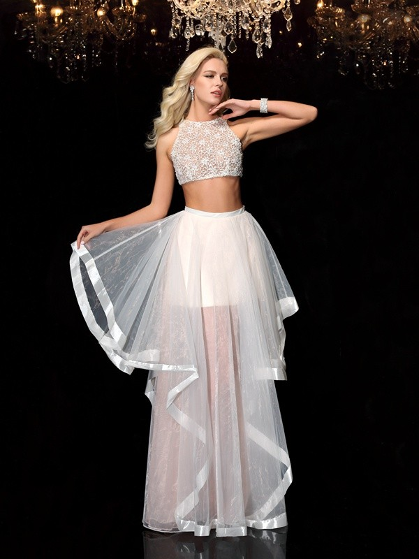 A-Line Tulle Scoop Sleeveless Floor-Length With Applique Two Piece Dresses