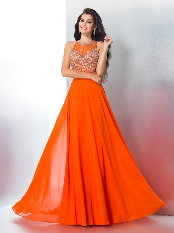 Orange Mermaid Prom Dress
