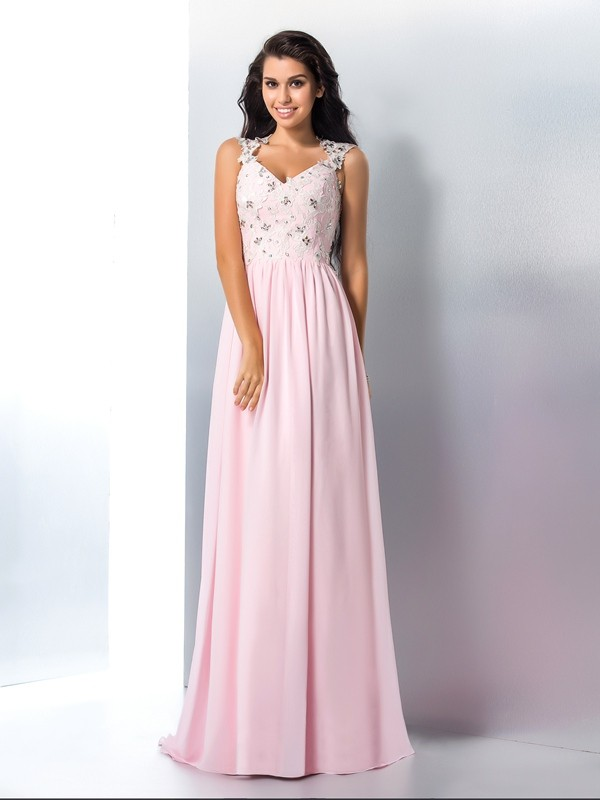 A-Line Chiffon V-neck Sleeveless Sweep/Brush Train With Applique Dresses