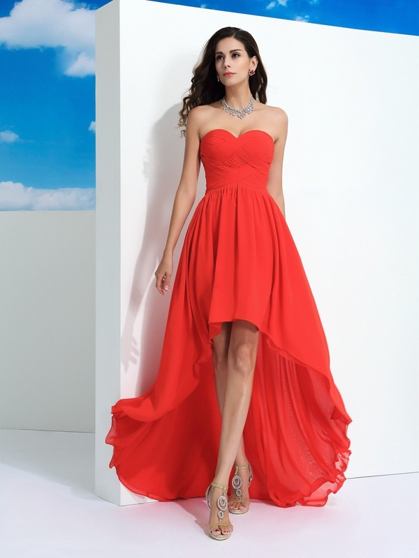A-Line Chiffon Sweetheart Sleeveless Asymmetrical With Pleats Dresses