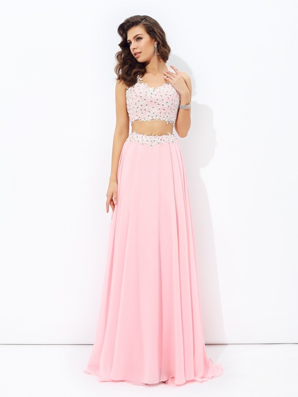 A-Line Chiffon Straps Sleeveless Floor-Length With Applique Two Piece Dresses