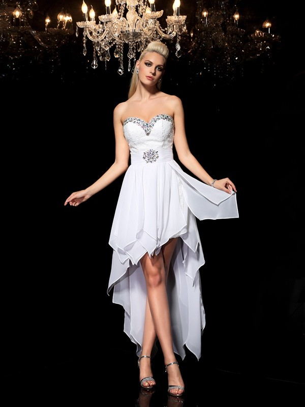 A-Line Chiffon Sweetheart Sleeveless Asymmetrical With Beading Dresses