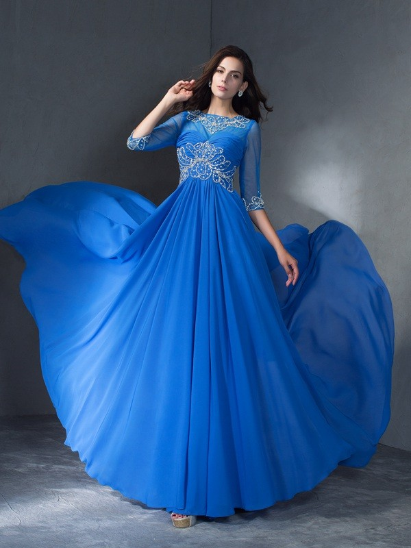 A-Line Chiffon Scoop 1/2 Sleeves Sweep/Brush Train With Beading Dresses