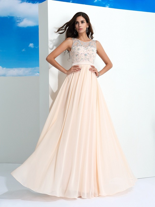A-Line Chiffon Sheer Neck Sleeveless Floor-Length With Beading Dresses