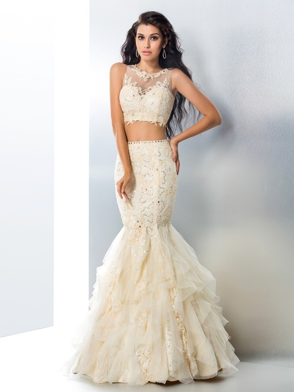 Mermaid Tulle Sheer Neck Sleeveless Floor-Length With Beading Two Piece Dresses