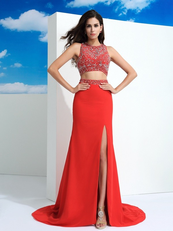 Sheath Chiffon Scoop Sleeveless Court Train With Beading Two Piece Dresses