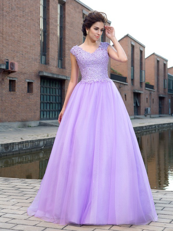 Ball Gown Net V-neck Short Sleeves Floor-Length With Applique Dresses
