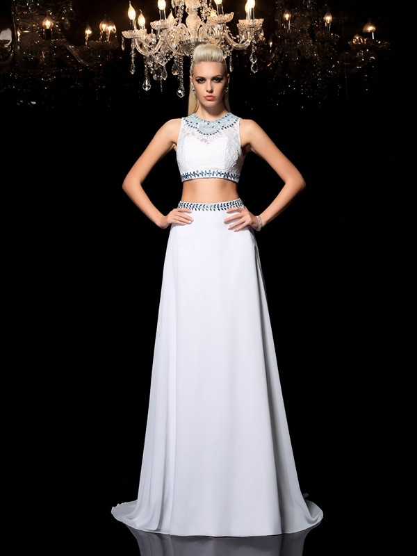 A-Line Chiffon Jewel Sleeveless Floor-Length With Beading Two Piece Dresses