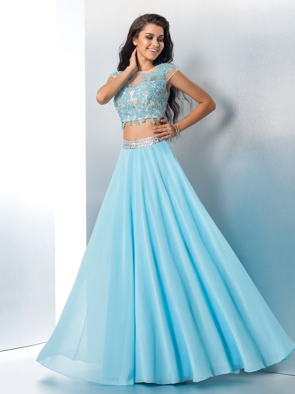 A-Line Chiffon Sheer Neck Short Sleeves Floor-Length With Applique Two Piece Dresses