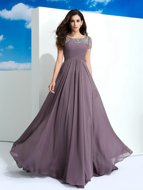 A-Line Chiffon Sheer Neck Short Sleeves Floor-Length With Beading Dresses