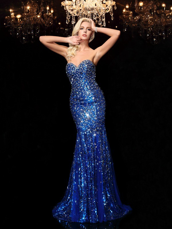 Mermaid Sequins Sweetheart Sleeveless Court Train With Sequin Dresses