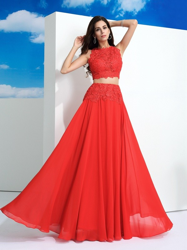 A-Line Chiffon Scoop Sleeveless Floor-Length With Lace Two Piece Dresses