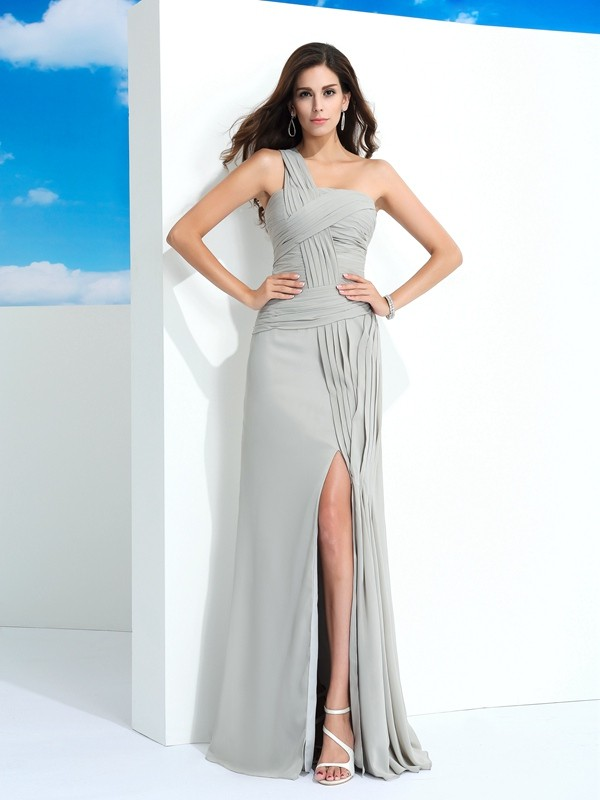 Sheath Chiffon One-Shoulder Sleeveless Floor-Length With Pleats Dresses