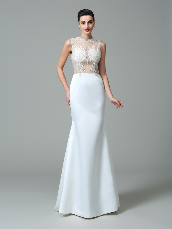 Sheath Satin Jewel Sleeveless Sweep/Brush Train With Applique Dresses