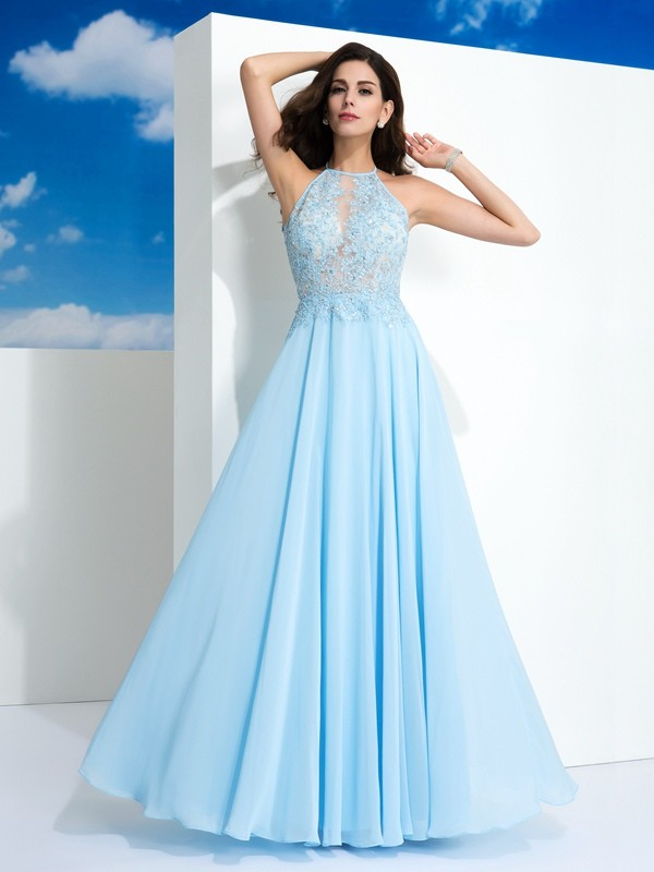 A-Line Chiffon Spaghetti Straps Sleeveless Floor-Length With Applique Dresses