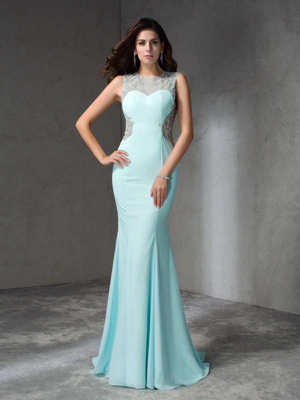 Mermaid Chiffon Jewel Sleeveless Sweep/Brush Train With Beading Dresses