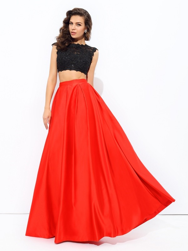 A-Line Satin Scoop Sleeveless Floor-Length With Lace Two Piece Dresses