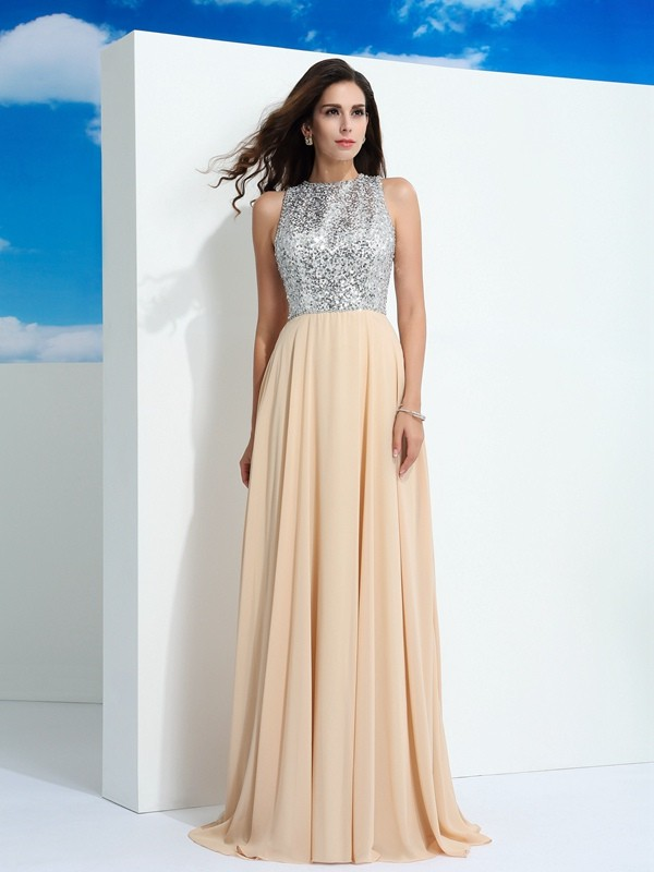 A-Line Chiffon Scoop Sleeveless Sweep/Brush Train With Paillette Dresses