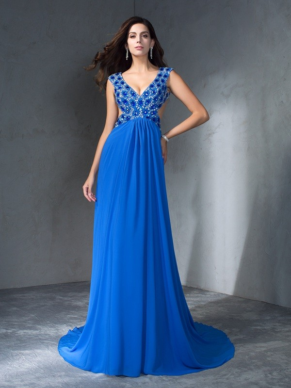 A-Line Chiffon V-neck Sleeveless Sweep/Brush Train With Sequin Dresses