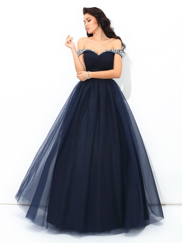 Ball Gown Net Off-the-Shoulder Sleeveless Floor-Length With Beading Quinceanera Dresses