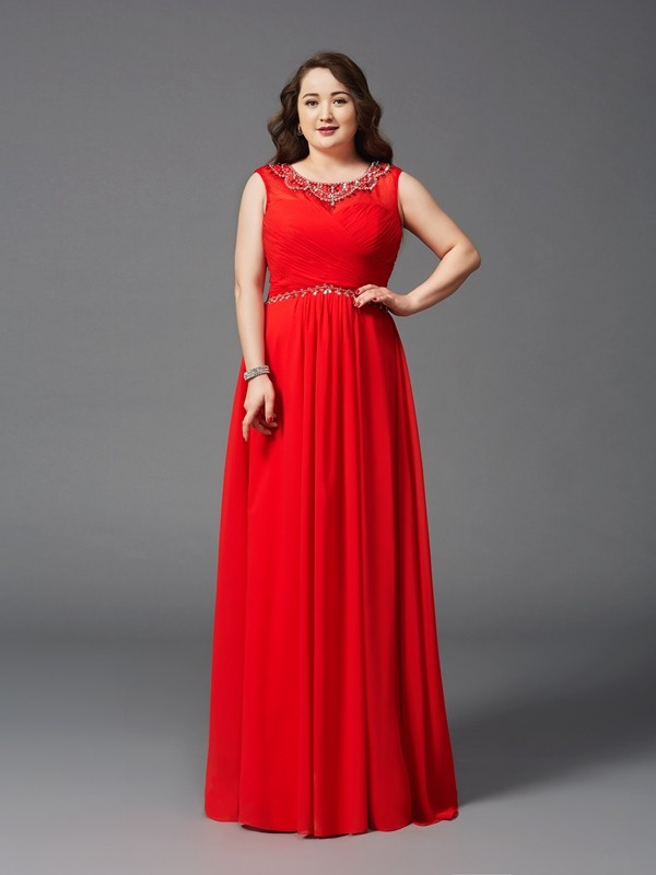 A-Line Chiffon Scoop Sleeveless Floor-Length With Beading Plus Size Dresses