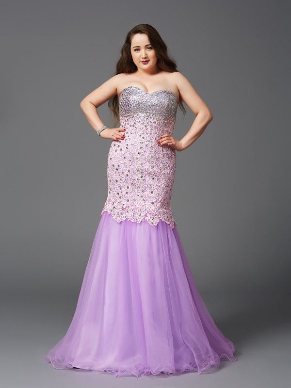 Mermaid Net Sweetheart Sleeveless Sweep/Brush Train With Beading Plus Size Dresses