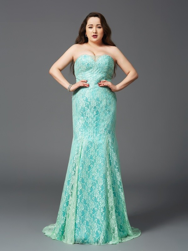Sheath Satin Strapless Sleeveless Court Train With Lace Plus Size Dresses