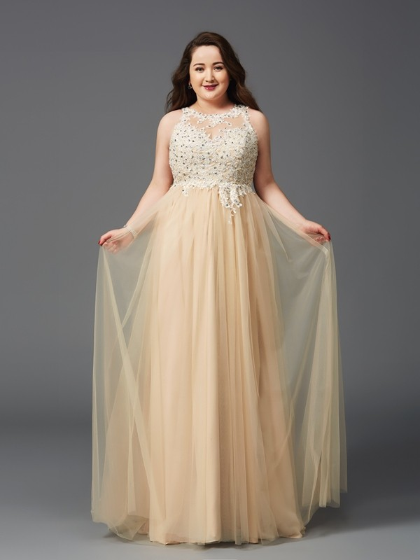 A-Line Net Scoop Sleeveless Floor-Length With Rhinestone Plus Size Dresses
