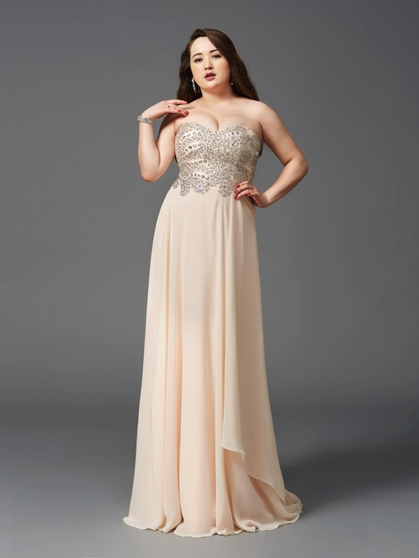 A-Line Chiffon Sweetheart Sleeveless Sweep/Brush Train With Rhinestone Plus Size Dresses