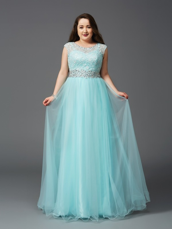 A-Line Elastic Woven Satin Scoop Sleeveless Floor-Length With Rhinestone Plus Size Dresses