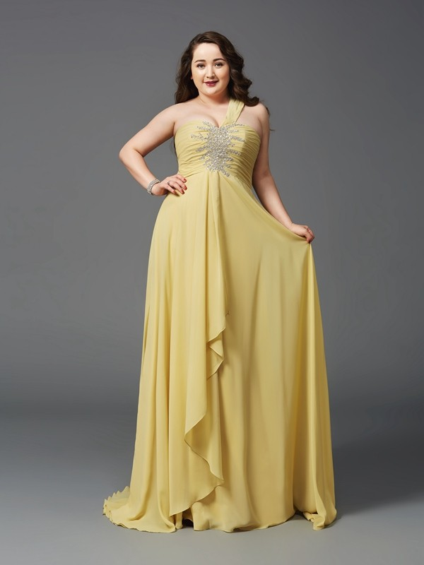 A-Line Chiffon One-Shoulder Sleeveless Sweep/Brush Train With Rhinestone Plus Size Dresses