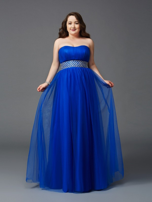A-Line Net Strapless Sleeveless Floor-Length With Rhinestone Plus Size Dresses