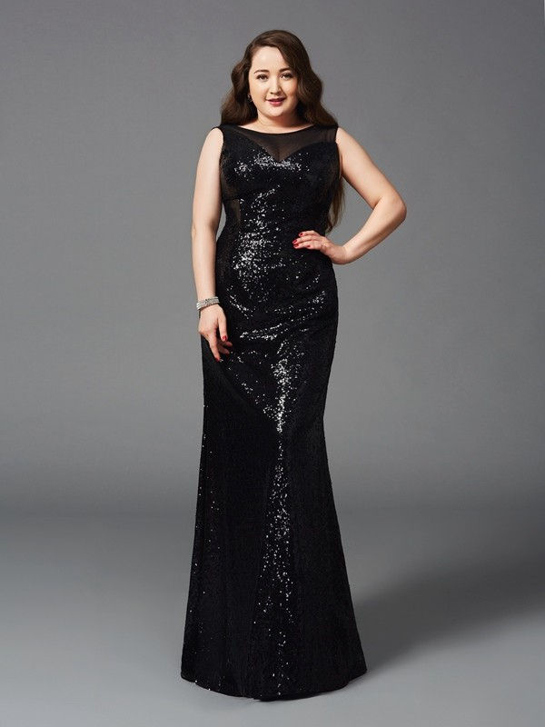 Sheath Sequins Scoop Sleeveless Floor-Length With Sequin Plus Size Dresses