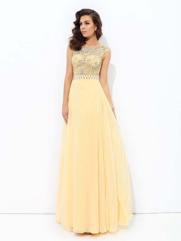 A-Line Chiffon Bateau Sleeveless Floor-Length With Beading Dresses
