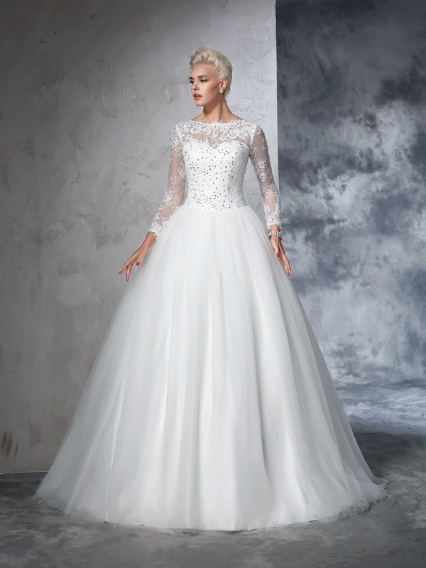 Ball Gown Net Bateau Long Sleeves Sweep/Brush Train With Lace Wedding Dresses