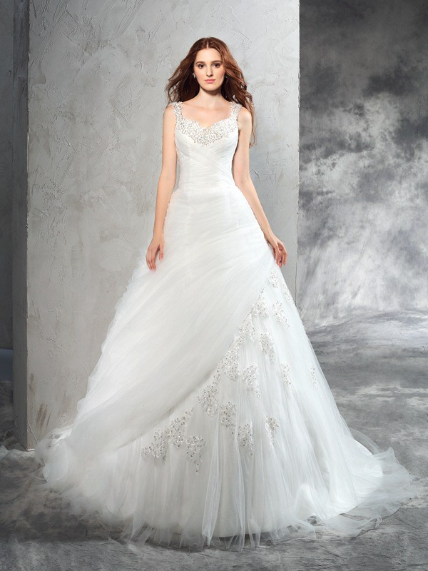 Ball Gown Net Straps Sleeveless Court Train With Applique Wedding Dresses