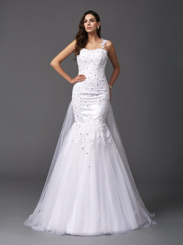 Mermaid Net Straps Sleeveless Sweep/Brush Train With Beading Wedding Dresses