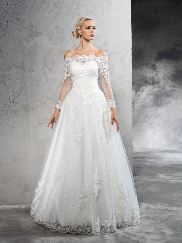 Ball Gown Net Off-the-Shoulder Long Sleeves Floor-Length With Lace Wedding Dresses