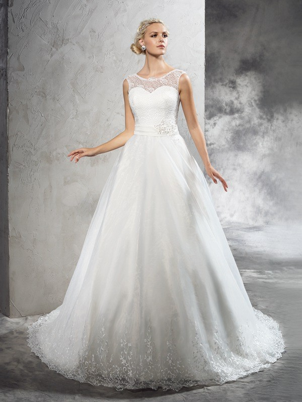 Ball Gown Net Sheer Neck Sleeveless Court Train With Sash/Ribbon/Belt Wedding Dresses