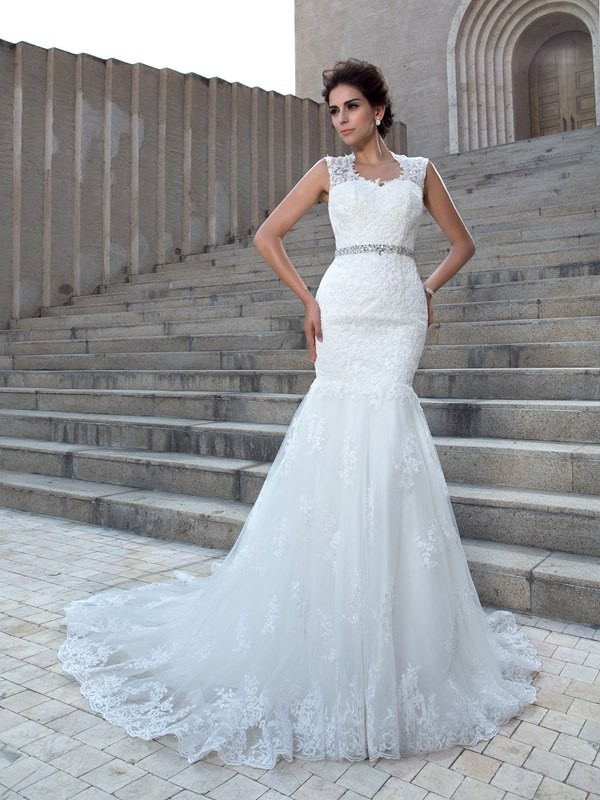 Mermaid Lace V-neck Sleeveless Chapel Train With Applique Wedding Dresses