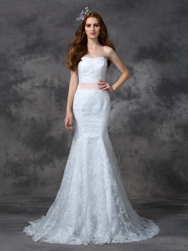 Mermaid Lace Strapless Sleeveless Court Train With Sash/Ribbon/Belt Wedding Dresses