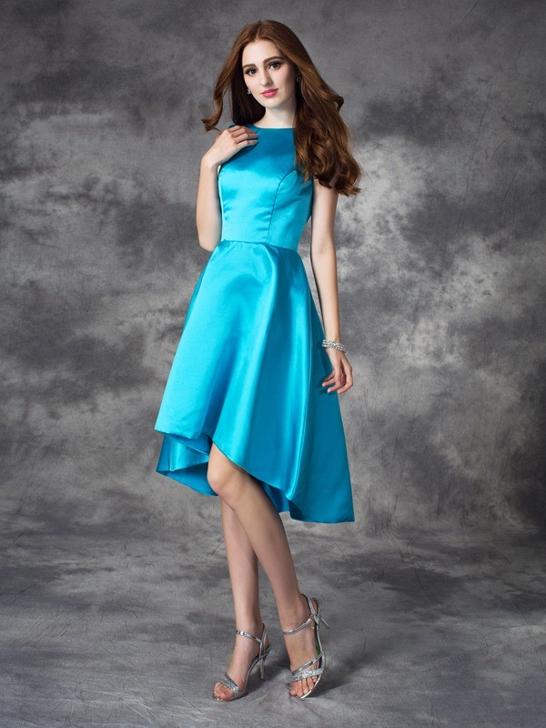 A-Line Satin Bateau Sleeveless Asymmetrical With Ruffles Bridesmaid Dresses